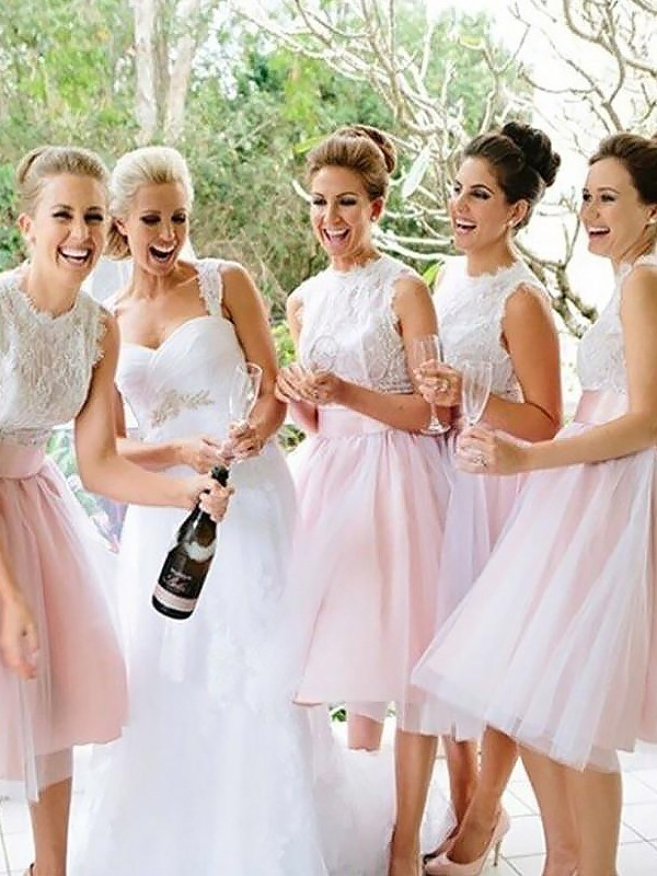Limitless Looks Princess Style Scoop Tulle Knee-Length Bridesmaid Dresses