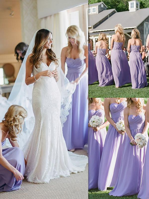 Comfortably Chic Princess Style Chiffon Floor-Length Sweetheart Bridesmaid Dresses