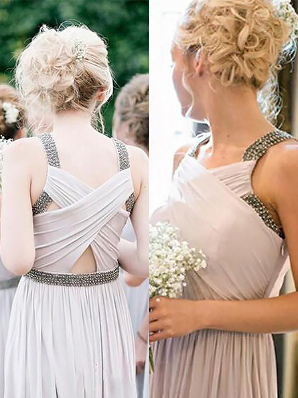 Creative Courage Princess Style Straps Chiffon Floor-Length With Beading Bridesmaid Dresses