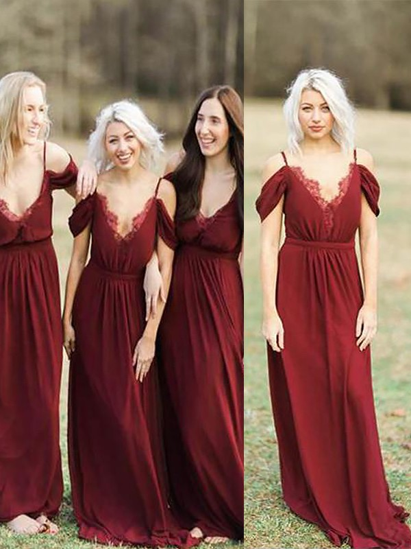 Festive Self Princess Style Spaghetti Straps Floor-Length Lace Chiffon Bridesmaid Dresses