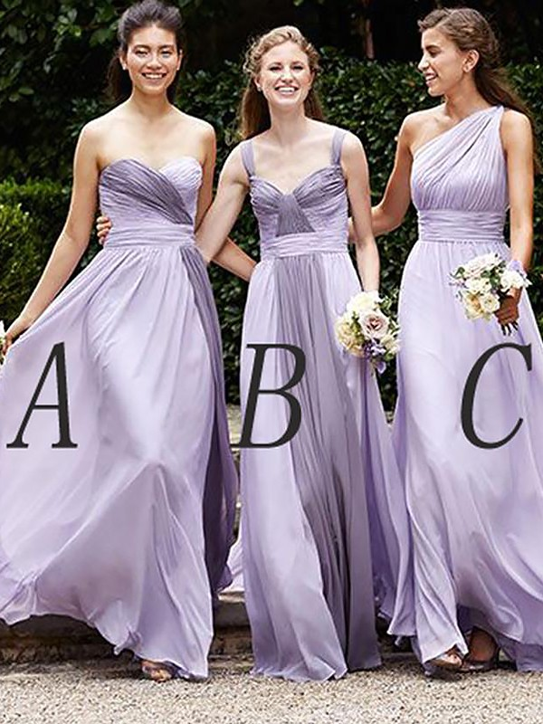 Pretty Looks Princess Style Chiffon Floor-Length Bridesmaid Dresses