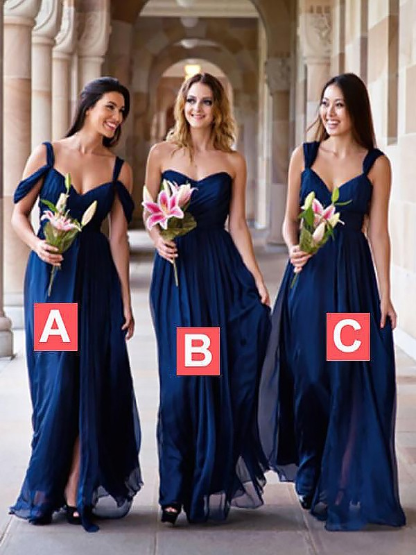 Defined Shine Princess Style Chiffon Floor-Length Bridesmaid Dresses
