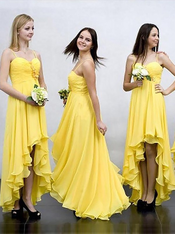 Beautiful You Princess Style Asymmetrical Spaghetti Straps Chiffon Bridesmaid Dresses