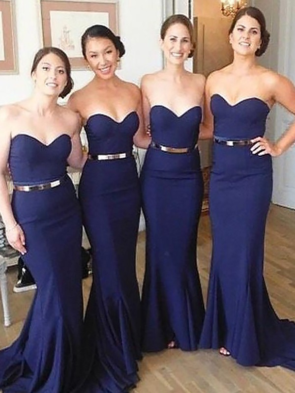 Befits Your Brilliance Mermaid Style Sweetheart Sweep/Brush Train Satin Bridesmaid Dresses