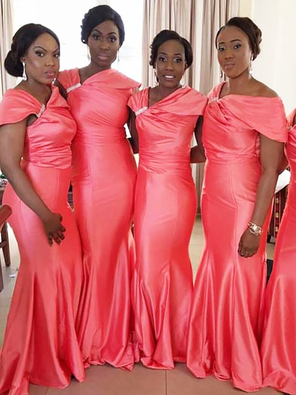 Glitz the Spot Mermaid Style Off-the-Shoulder Floor-Length Satin Bridesmaid Dresses