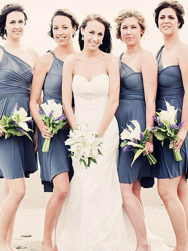 Pleasant Emphasis Princess Style Chiffon One-Shoulder Short/Mini Bridesmaid Dresses