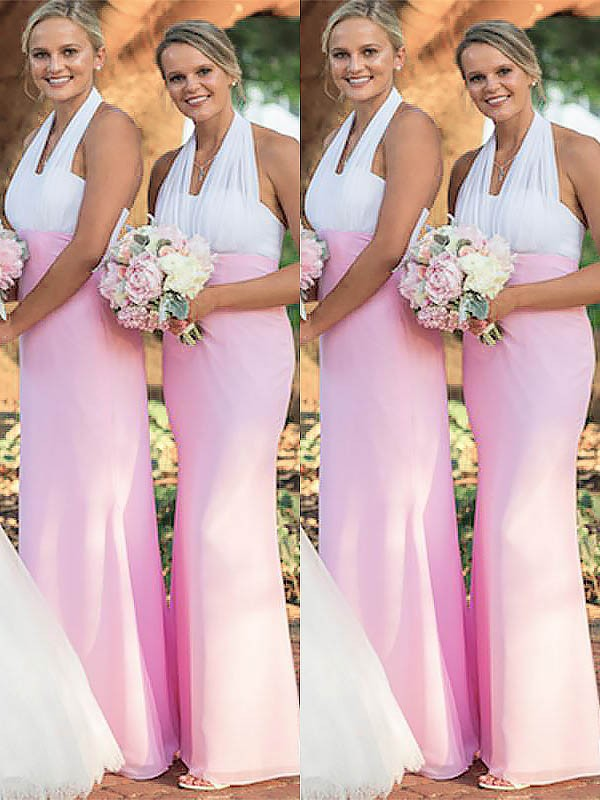 Limitless Looks Sheath Style Halter Chiffon Floor-Length Bridesmaid Dresses