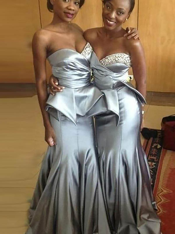 Comfortably Chic Mermaid Style Sweetheart Satin Sweep/Brush Train Bridesmaid Dresses