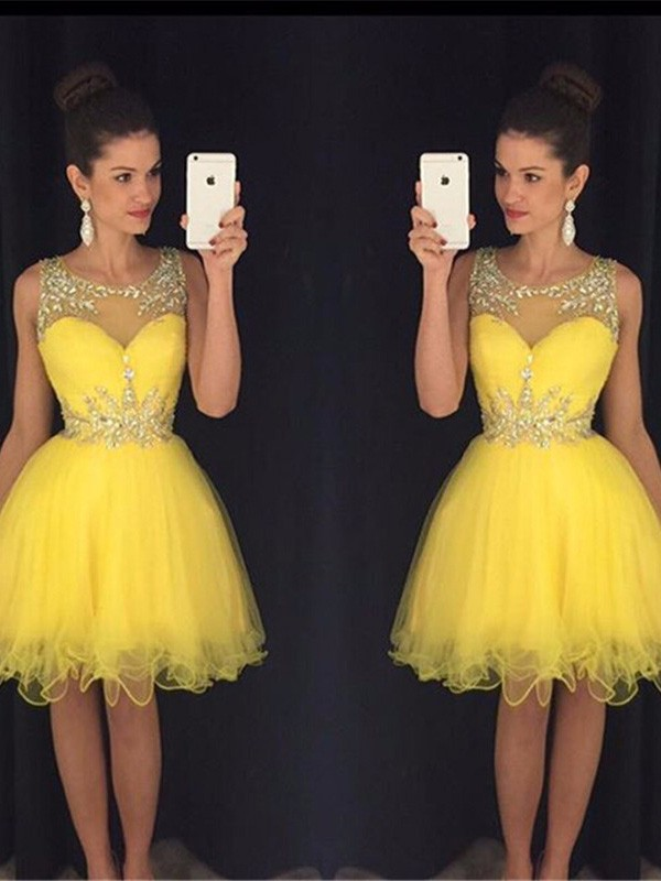 Savor the Occasion Princess Style Scoop Beading Tulle Short/Mini Dresses