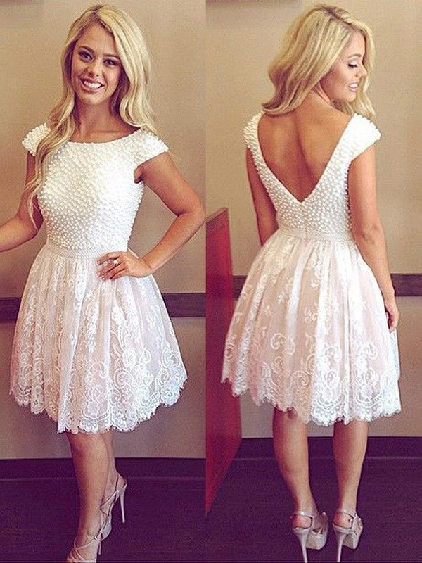Absolute Lovely Princess Style Scoop Pearls Lace Short/Mini Dresses