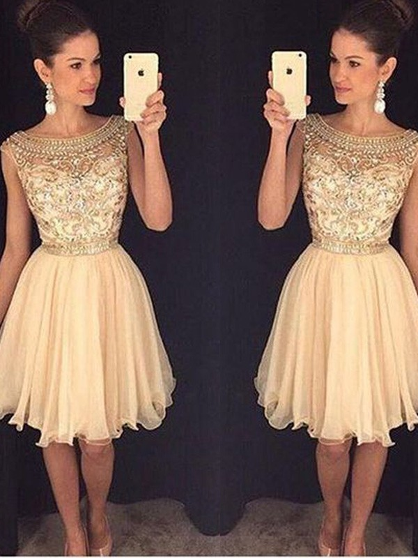 Time to Shine Princess Style Scoop Short/Mini Beading Chiffon Dresses