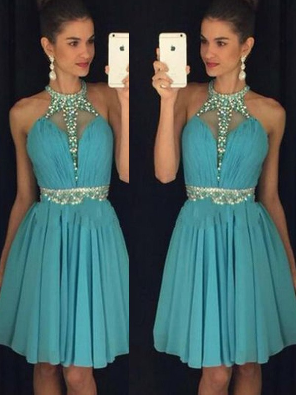 Treasured Reveries Princess Style Halter Short/Mini Beading Chiffon Dresses