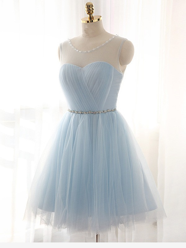 Comfortably Chic Princess Style Scoop Beading Short/Mini Tulle Dresses