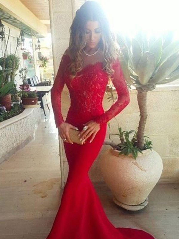 Cheerful Spirit Mermaid Style Off-the-Shoulder Lace Sweep/Brush Train Elastic Woven Satin Dresses