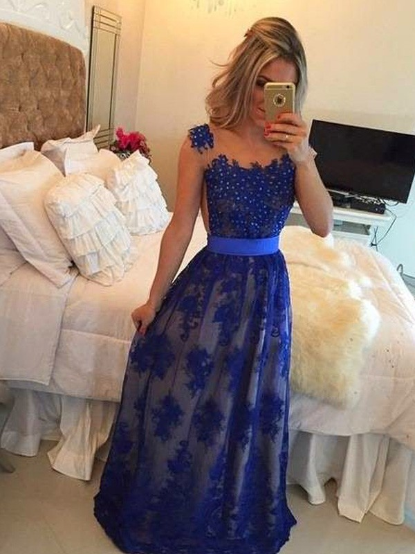 Too Much Fun Sheath Style Scoop Applique Floor-Length Tulle Dresses
