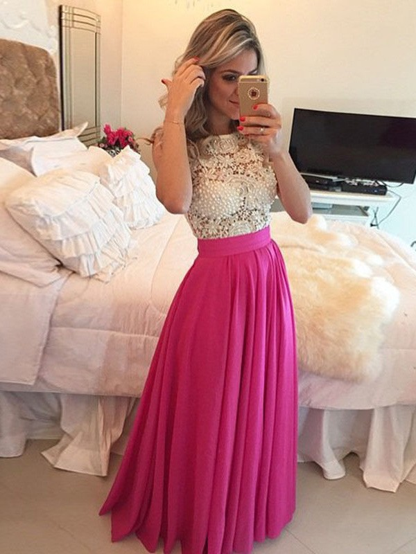 Dancing Queen Princess Style Scoop Lace Floor-Length Chiffon Dresses