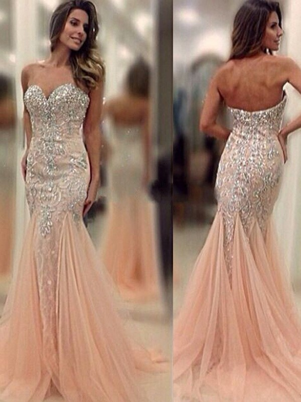 Yours Truly Mermaid Style Sweetheart Sweep/Brush Train Beading Tulle Dresses
