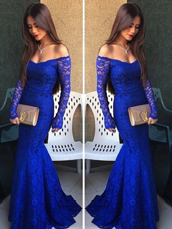 Defined Shine Mermaid Style Off-the-Shoulder Lace Sweep/Brush Train Dresses