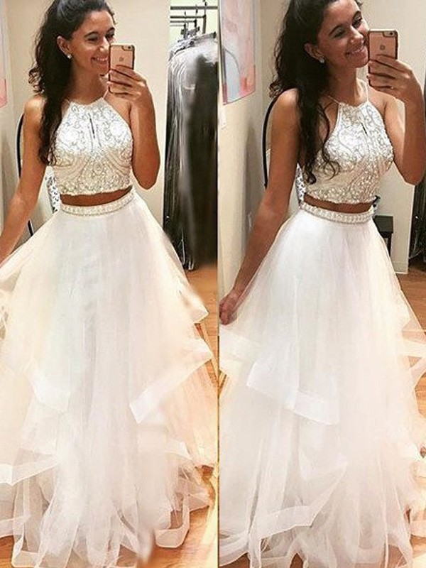 Absolute Lovely Princess Style Halter Floor-Length Beading Tulle Dresses