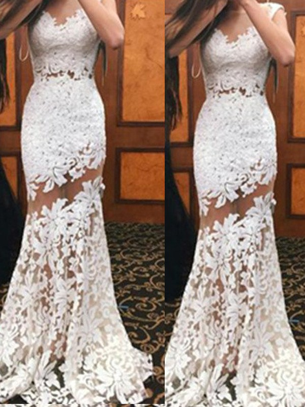 Time to Shine Mermaid Style Scoop Sweep/Brush Train Lace Dresses