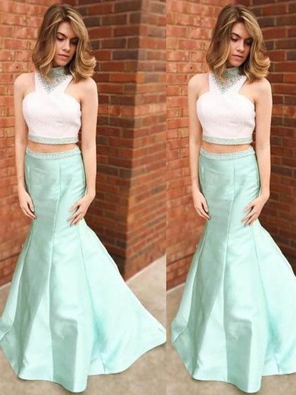 Efflorescent Dreams Mermaid Style High Neck Floor-Length Beading Satin Dresses