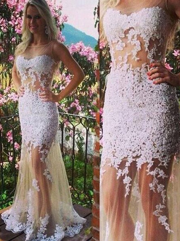 Styled to Smile Mermaid Style Scoop Applique Tulle Floor-Length Dresses