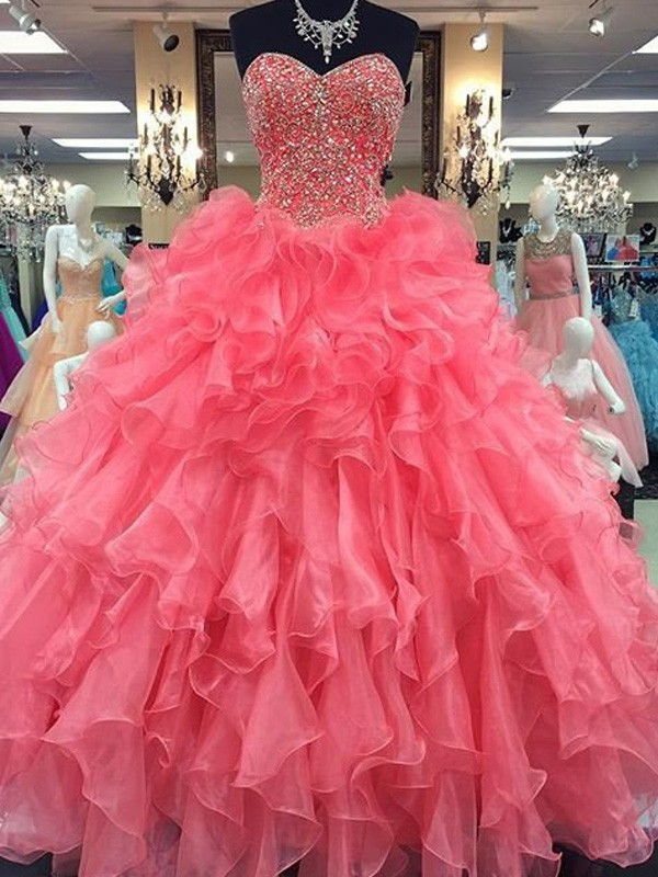 Confident Option Ball Gown Sweetheart Floor-Length Beading Organza Dresses