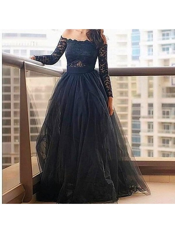 Visual Moment Princess Style Off-the-Shoulder Lace Floor-Length Tulle Dresses