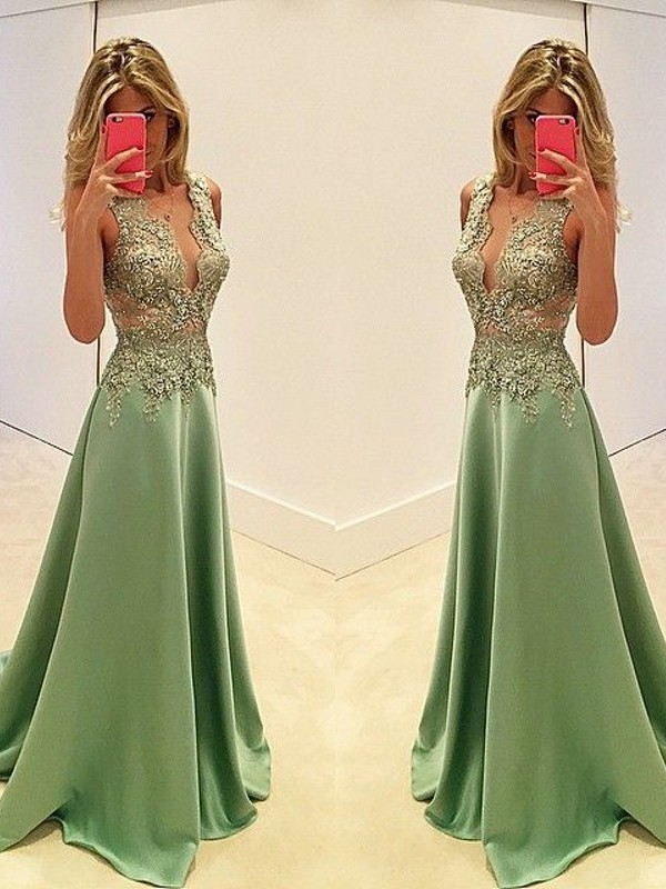 Defined Shine Princess Style V-neck Floor-Length With Applique Satin Dresses
