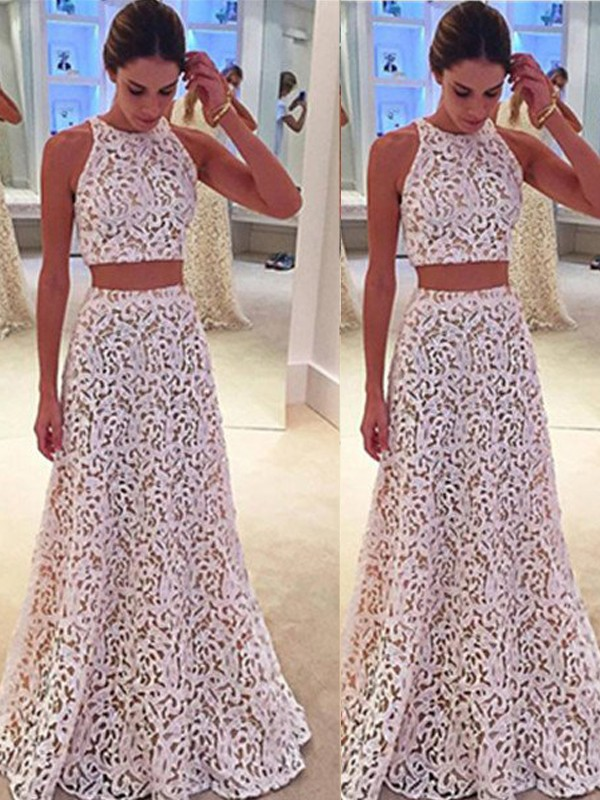 Eye-Catching Charm Princess Style Scoop Floor-Length Lace Dresses