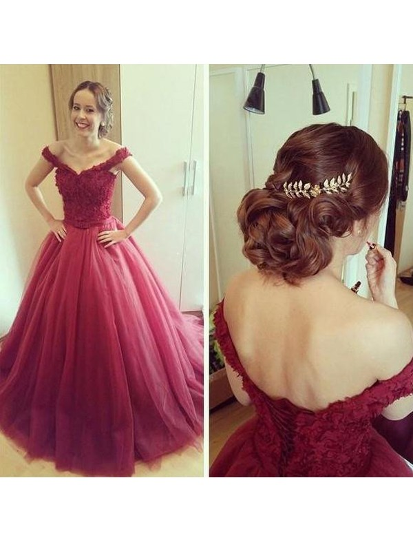 Modern Mood Ball Gown Off-the-Shoulder Applique Court Train Tulle Dresses