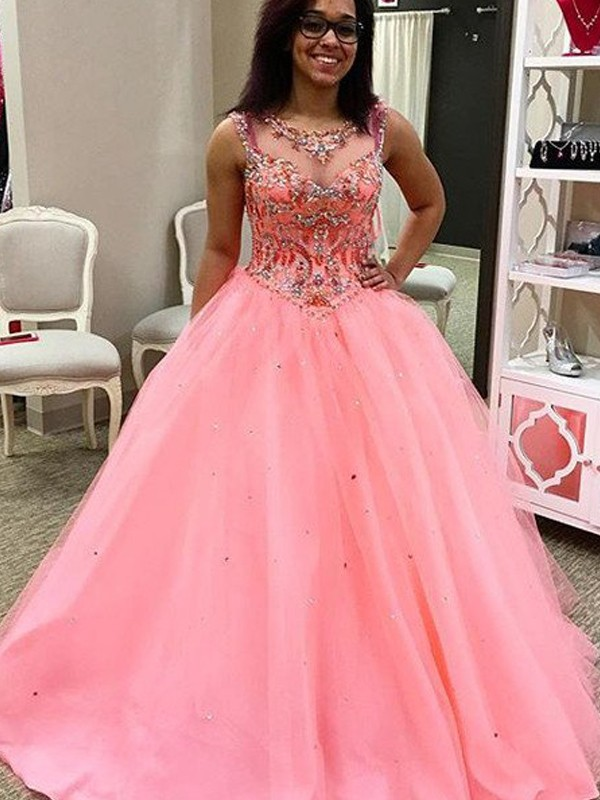 Absolute Lovely Ball Gown Sweetheart Tulle Beading Floor-Length Dresses