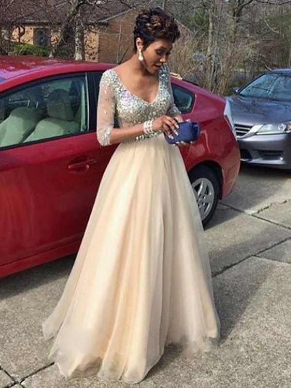 First Impressions Princess Style V-Neck Beading Floor-Length Tulle Dresses