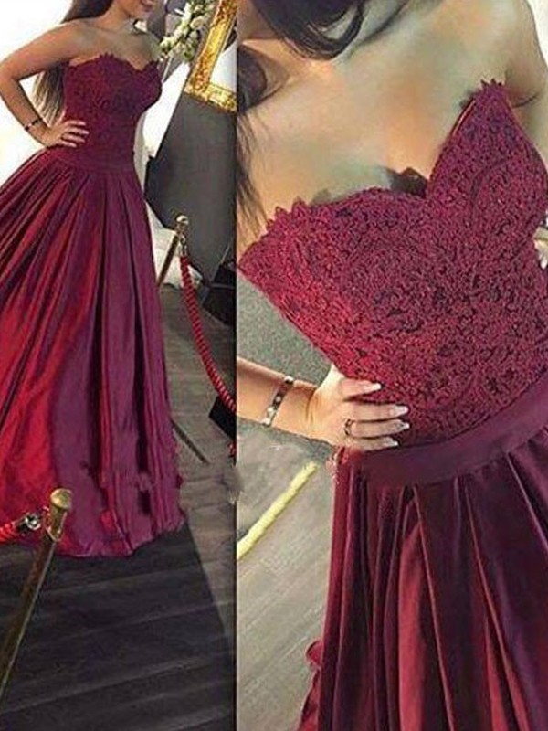 Open to Adoration Princess Style Sweetheart Lace Satin Floor-Length Dresses