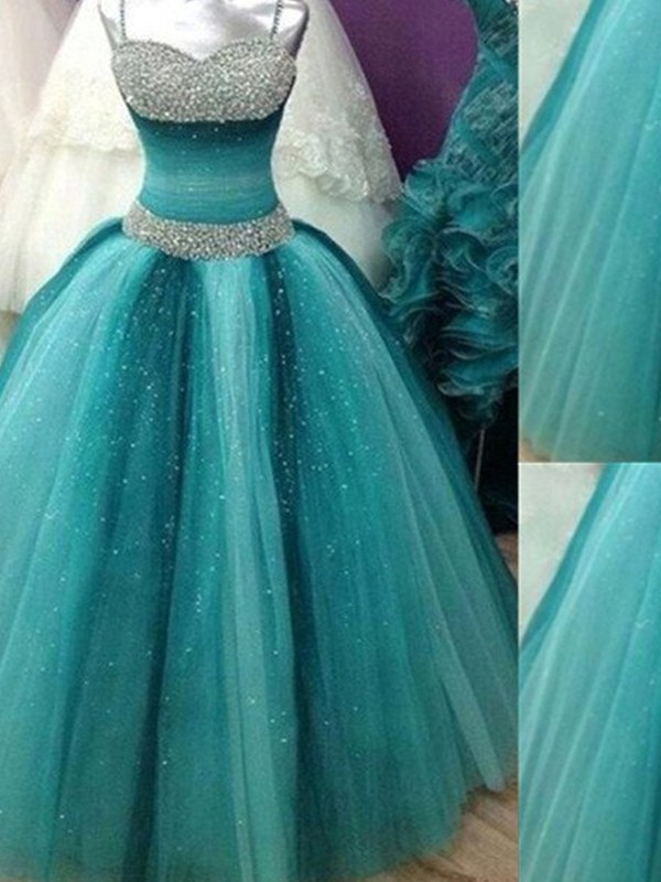 Dancing Queen Ball Gown Spaghetti Straps Beading Tulle Floor-Length Dresses