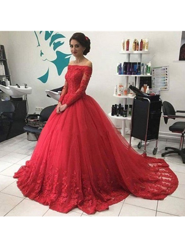 Styled to Smile Ball Gown Off-the-Shoulder Lace Tulle Court Train Dresses