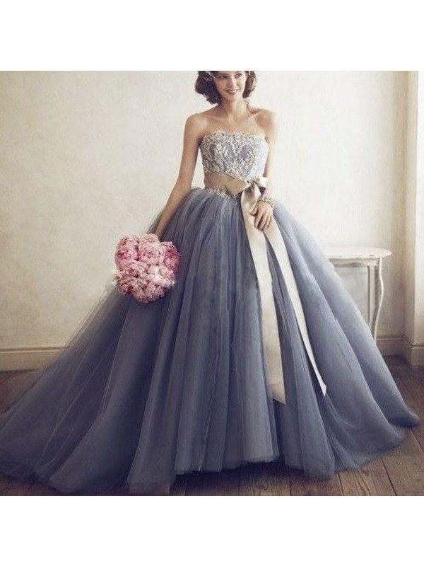 Pleased to be Me Ball Gown Sweetheart Applique Tulle Sweep/Brush Train Dresses