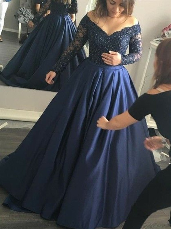 Vibrant Stylist Ball Gown Off-the-Shoulder Beading Satin Sweep/Brush Train Dresses