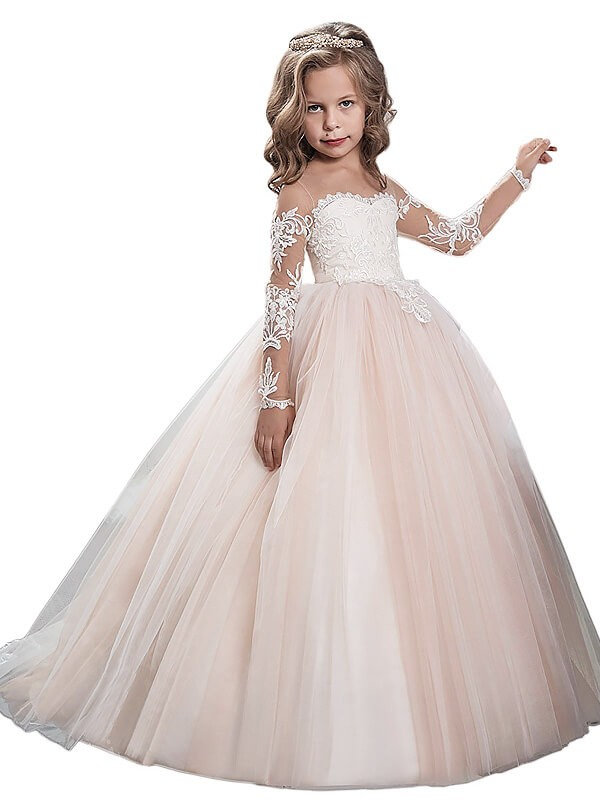 Limitless Looks Ball Gown Scoop Sweep/Brush Train Tulle Flower Girl Dresses