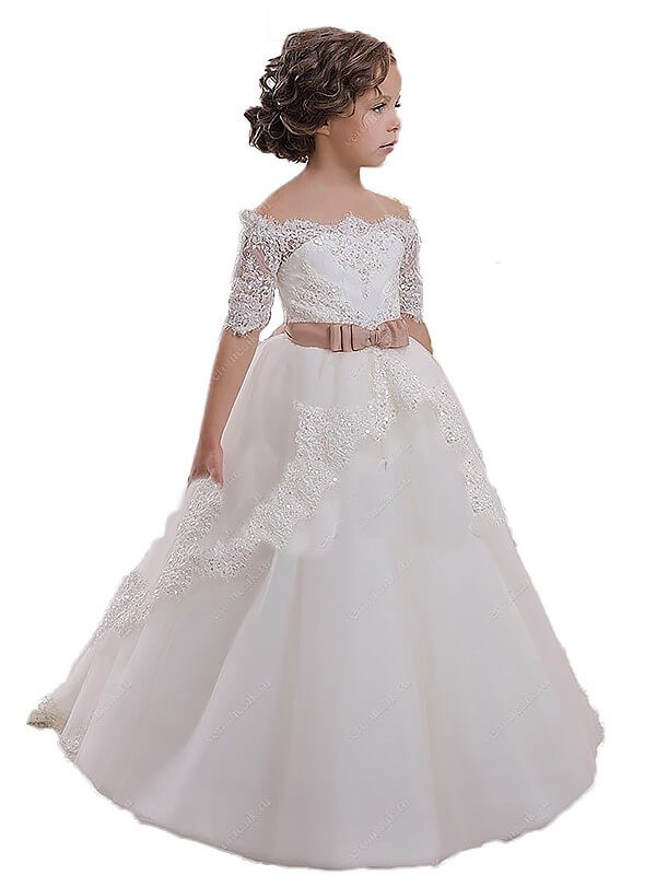 Modern Mood Ball Gown Off-the-Shoulder Sash/Ribbon/Belt Tulle Flower Girl Dresses