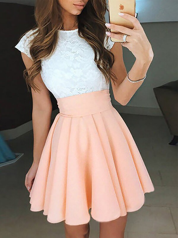 Absolute Lovely Princess Style Jewel Lace Short/Mini Chiffon Dresses