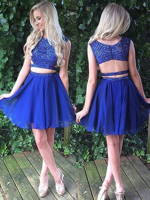 Aesthetic Honesty Princess Style Scoop Short/Mini Chiffon Two Piece Dresses