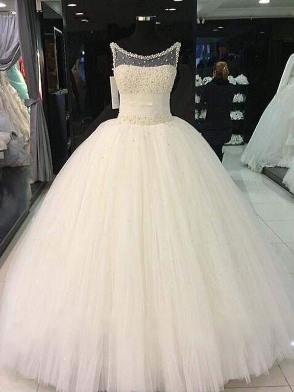 Cheerful Spirit Ball Gown Scoop With Beading Tulle Floor-Length Wedding Dresses