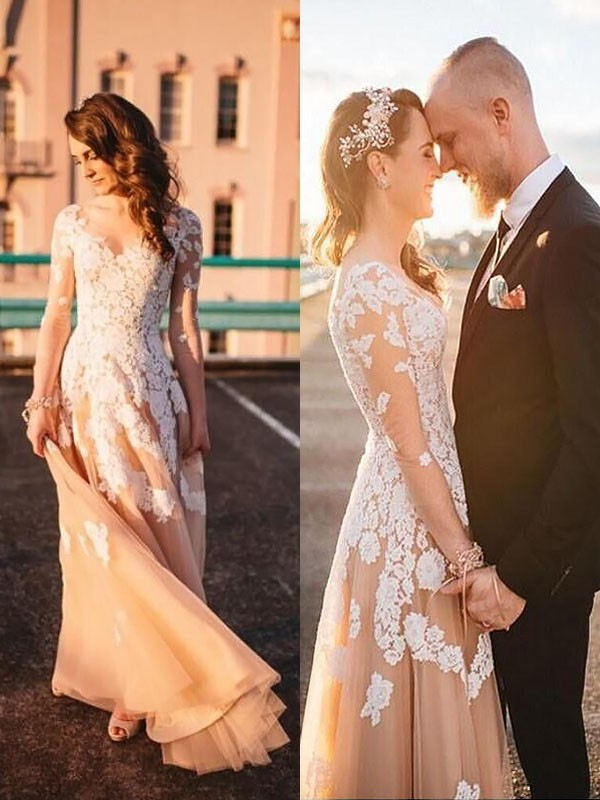 Open to Adoration Princess Style Tulle V-neck Lace Sweep/Brush Train Wedding Dresses