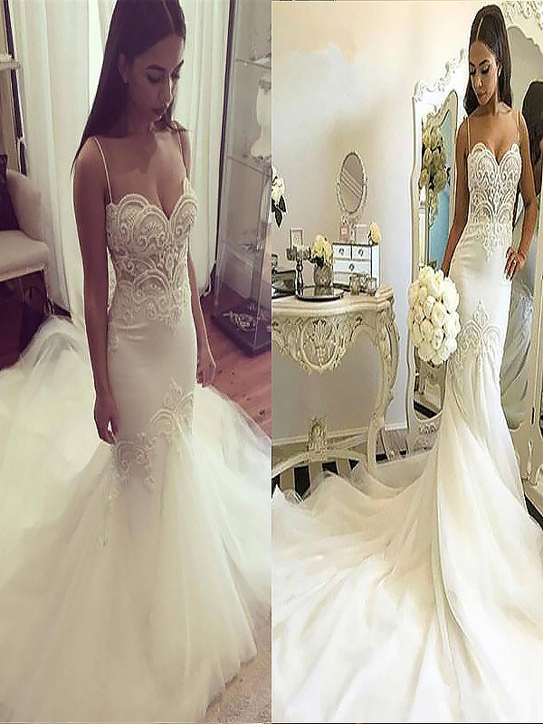 Dancing Queen Mermaid Style Spaghetti Straps Chapel Train Tulle Wedding Dresses