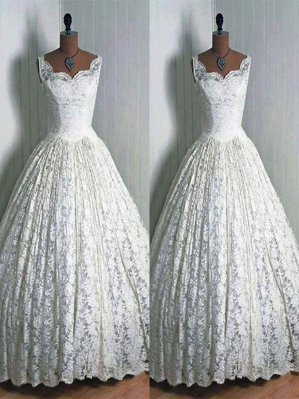 Yours Truly Ball Gown Lace Sweetheart Floor-Length Wedding Dresses