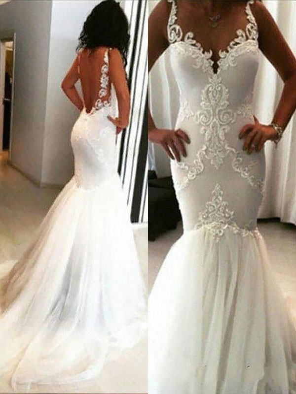 Just My Style Mermaid Style Chapel Train With Applique Spaghetti Straps Tulle Wedding Dresses