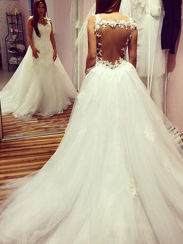 Romantic Vibes Ball Gown Sweetheart Chapel Train Tulle Wedding Dresses