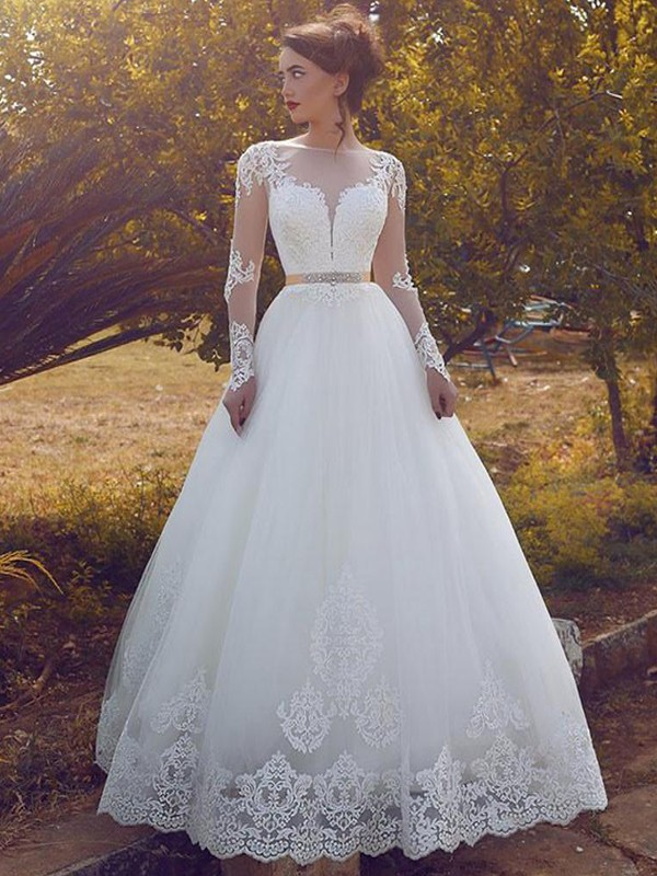Fresh Picks Ball Gown Bateau Tulle Floor-Length Wedding Dresses