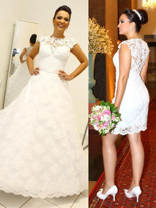 Embracing Grace Ball Gown Scoop Lace Floor-Length Wedding Dresses